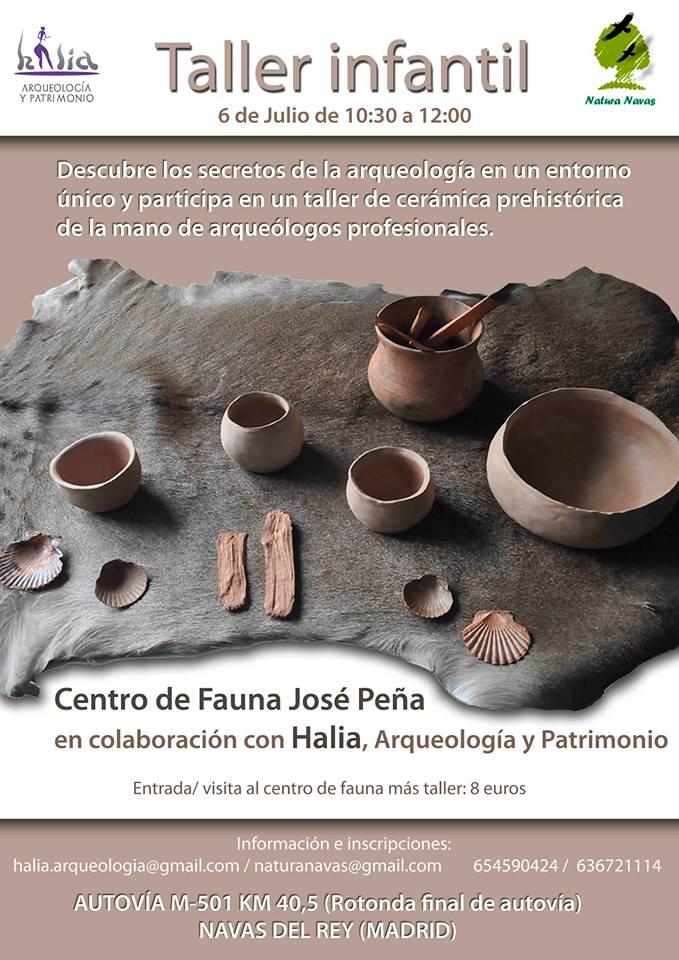 taller infantil de arqueología y cerámica prehistórica en navas del rey