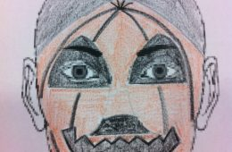 Cara pintada de calabaza para halloween