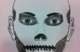 Cara pintada de calavera para halloween