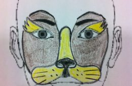 Cara pintada de gato en carnaval