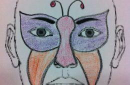 Cara pintada de mariposa o antifaz de fantasía
