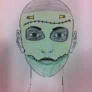 Cara pintada de monstruo frankenstein para halloween