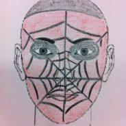 Cara pintada de hombre araña o spiderman